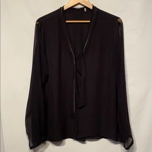 Elite Tahari Black Silk Blouse With Chains Size XL